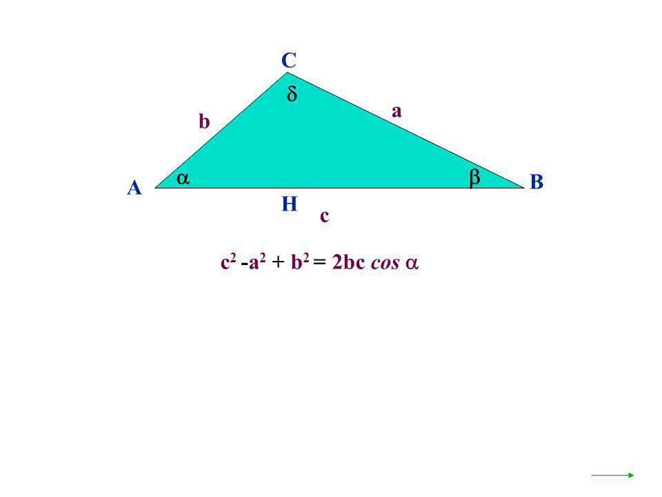 C  a b   B A H c c2 -a2 + b2 = 2bc cos 