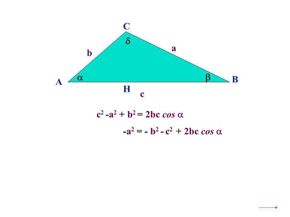 C  a b   B A H c c2 -a2 + b2 = 2bc cos  -a2 = - b2 - c2 + 2bc cos 