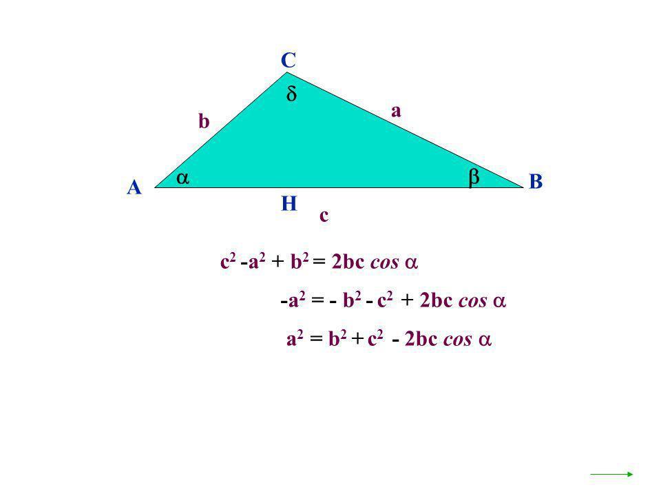 C  a b   B A H c c2 -a2 + b2 = 2bc cos  -a2 = - b2 - c2 + 2bc cos  a2 = b2 + c2 - 2bc cos 