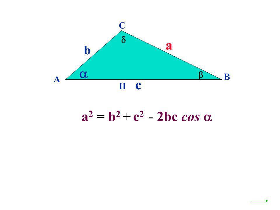 C  a b   B A c H a2 = b2 + c2 - 2bc cos 