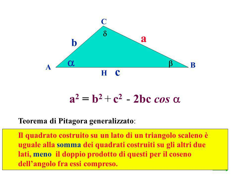 a  c a2 = b2 + c2 - 2bc cos  b C   B A H