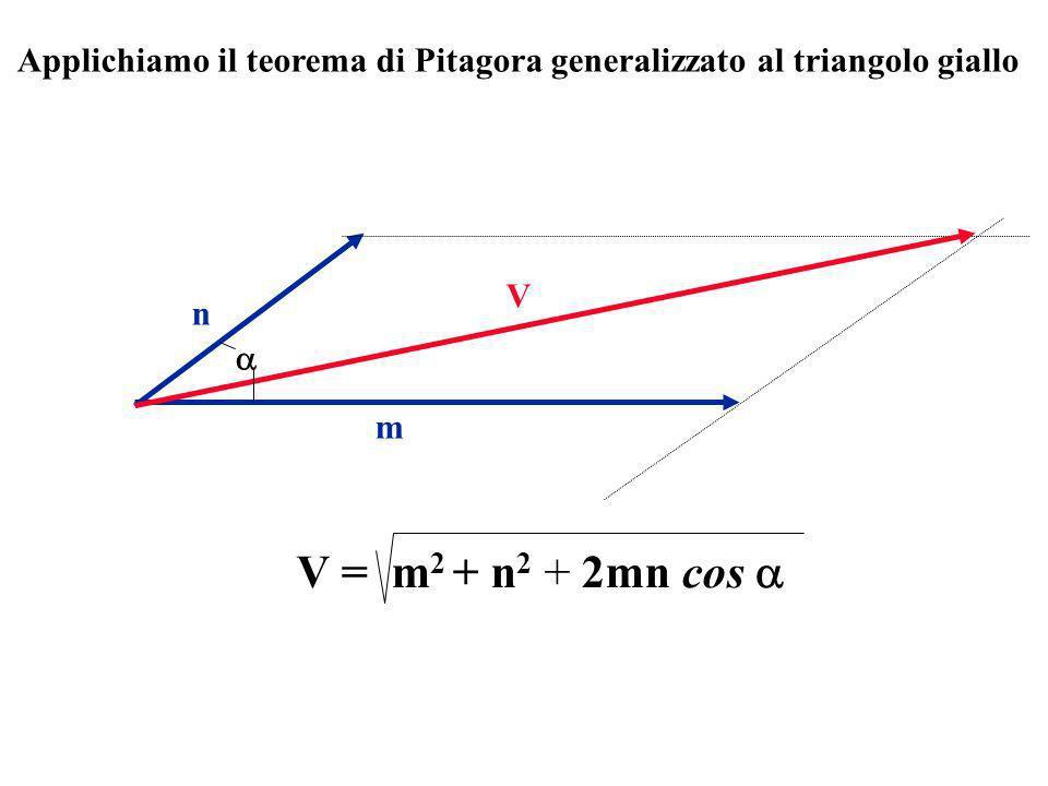 Applichiamo il teorema di Pitagora generalizzato al triangolo giallo
