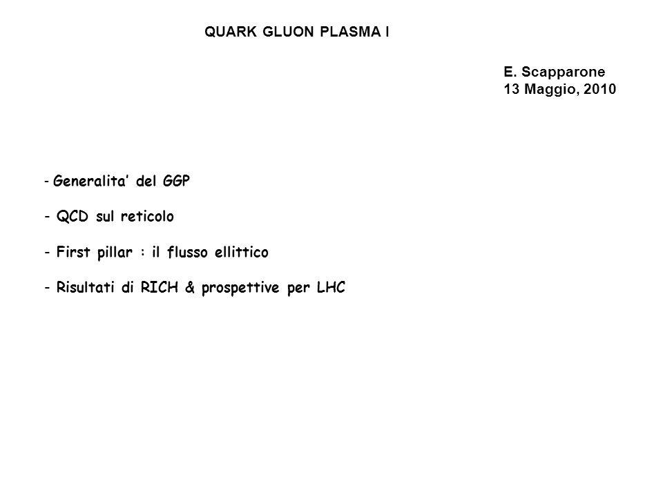 QUARK GLUON PLASMA I E. Scapparone. 13 Maggio, 2010. Generalita' del GGP. QCD sul reticolo. First pillar : il flusso ellittico.