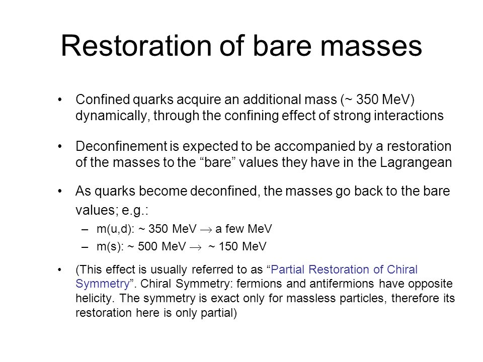 Restoration of bare masses