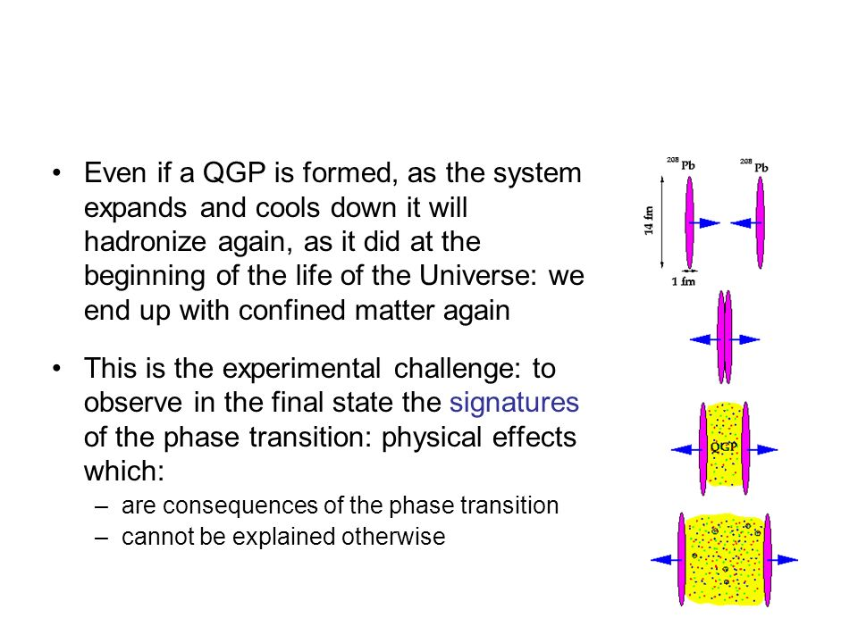 Even if a QGP is formed, as the system expands and cools down it will hadronize again, as it did at the beginning of the life of the Universe: we end up with confined matter again