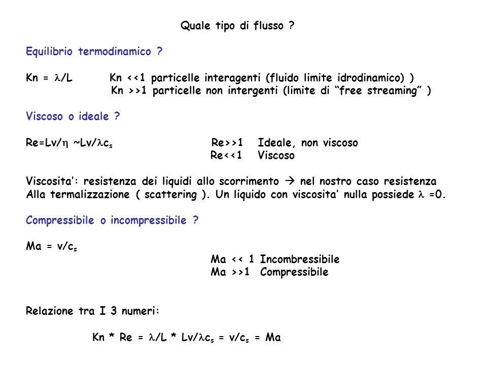 Quale tipo di flusso Equilibrio termodinamico Kn = l/L Kn <<1 particelle interagenti (fluido limite idrodinamico) )