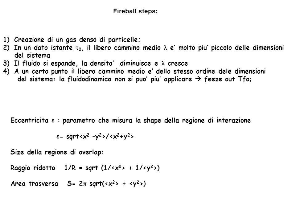 Fireball steps: Creazione di un gas denso di particelle; In un dato istante t0, il libero cammino medio l e' molto piu' piccolo delle dimensioni.