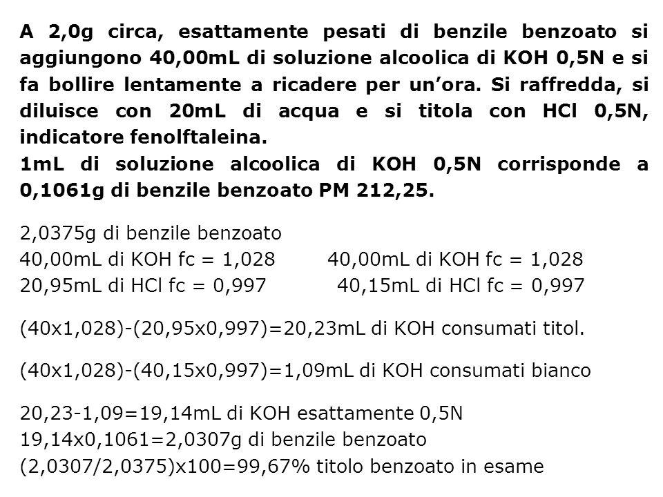 A 2,0g circa, esattamente pesati di benzile benzoato si aggiungono 40,00mL di soluzione alcoolica di KOH 0,5N e si fa bollire lentamente a ricadere per un'ora. Si raffredda, si diluisce con 20mL di acqua e si titola con HCl 0,5N, indicatore fenolftaleina.