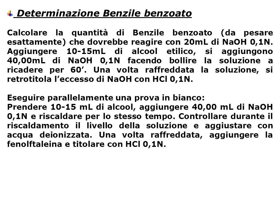 Determinazione Benzile benzoato