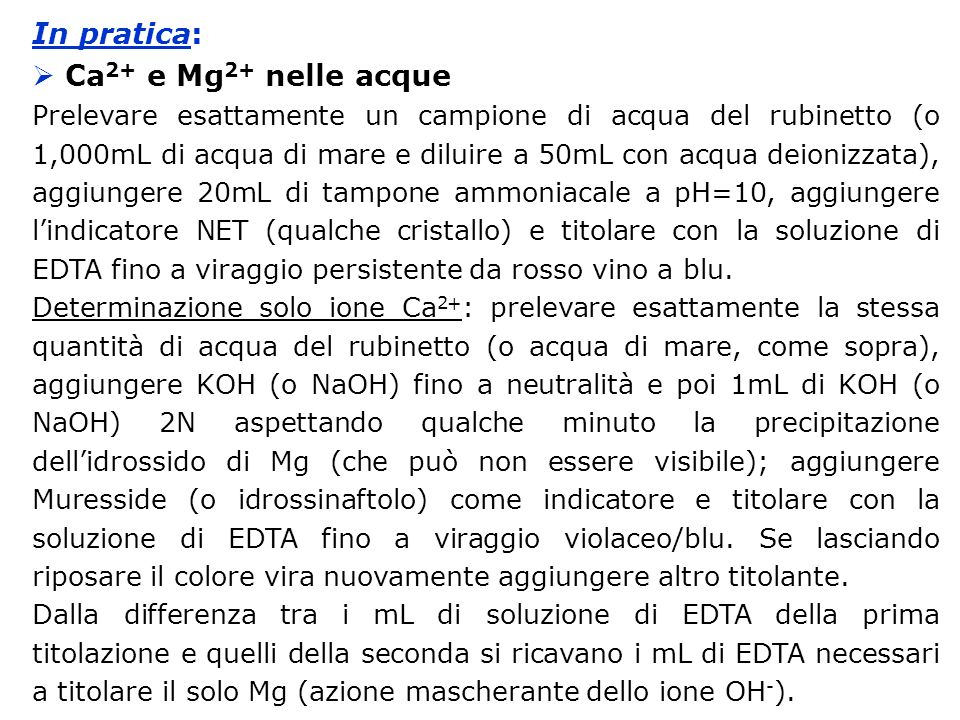 In pratica: Ca2+ e Mg2+ nelle acque