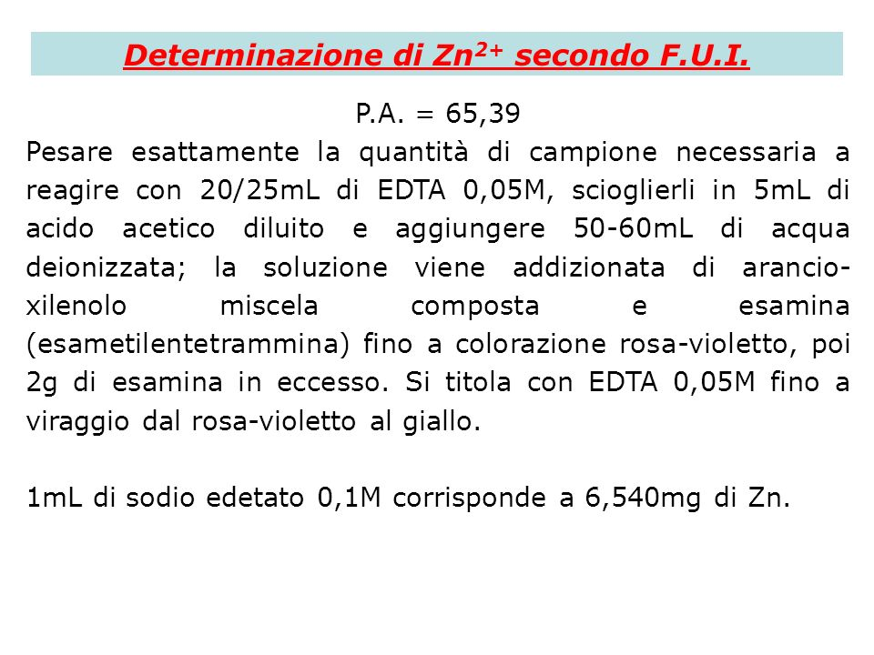 Determinazione di Zn2+ secondo F.U.I.