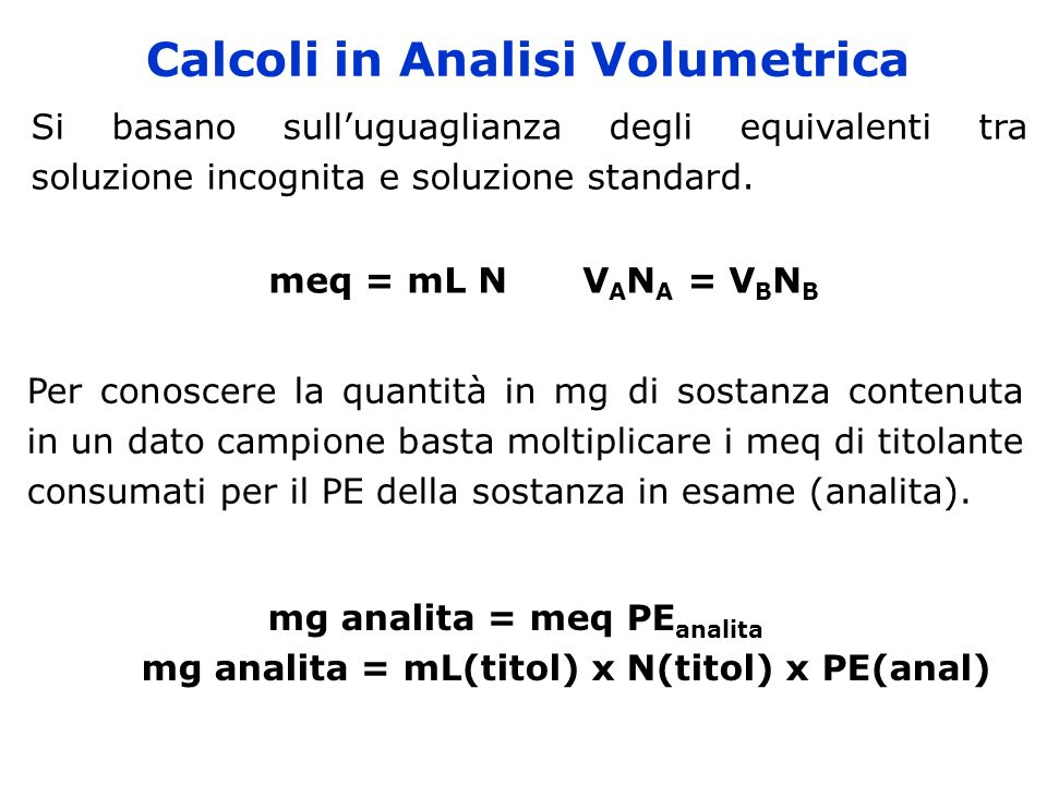 Calcoli in Analisi Volumetrica