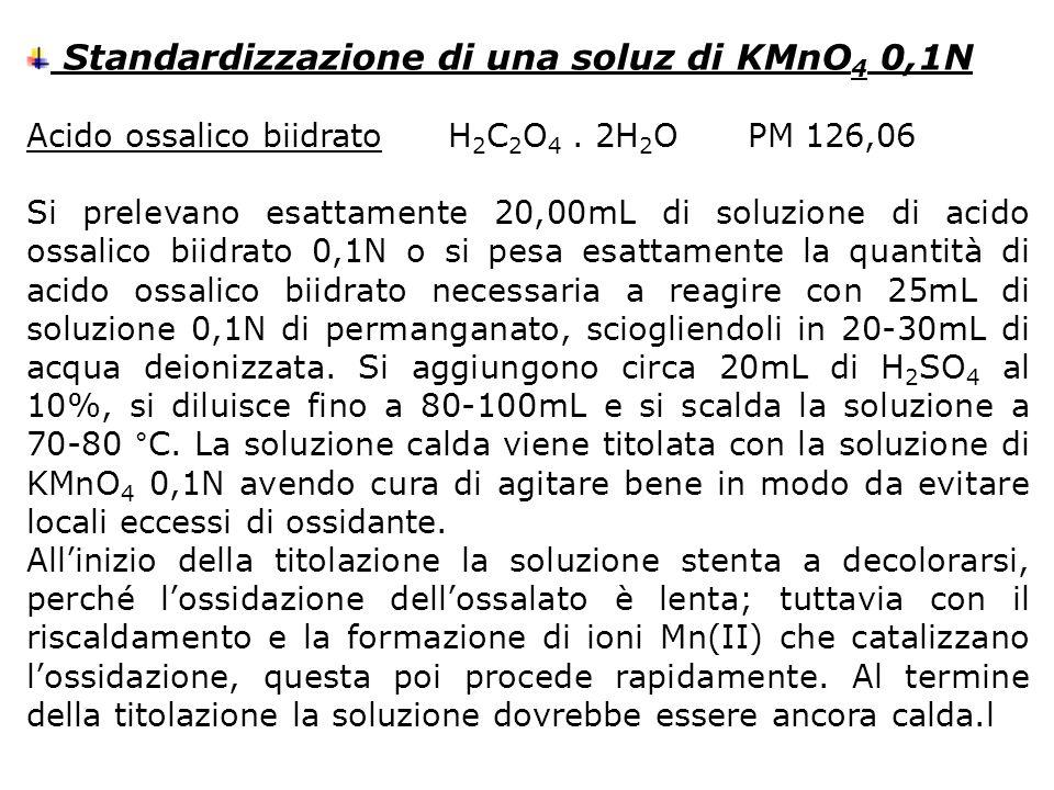 Standardizzazione di una soluz di KMnO4 0,1N