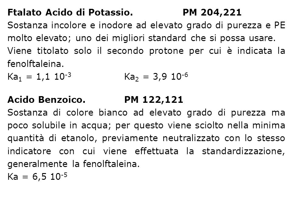 Ftalato Acido di Potassio. PM 204,221