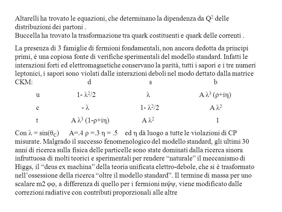 Altarelli ha trovato le equazioni, che determinano la dipendenza da Q2 delle distribuzioni dei partoni . Buccella ha trovato la trasformazione tra quark costituenti e quark delle correnti .