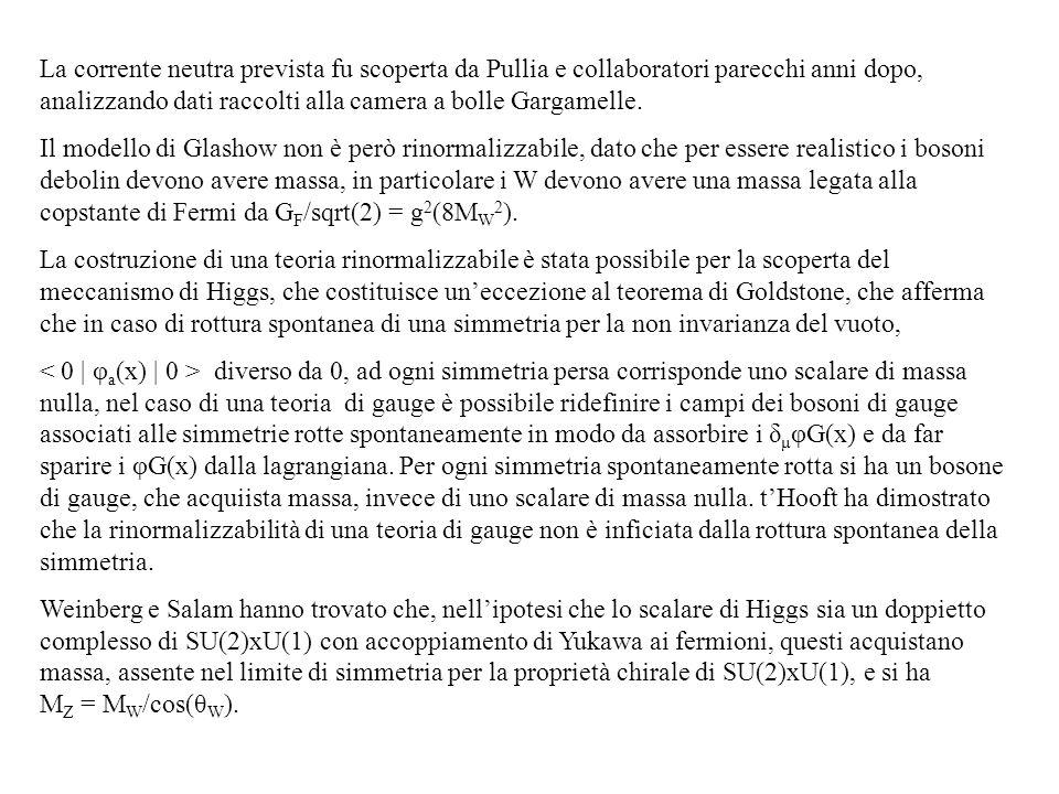 La corrente neutra prevista fu scoperta da Pullia e collaboratori parecchi anni dopo, analizzando dati raccolti alla camera a bolle Gargamelle.