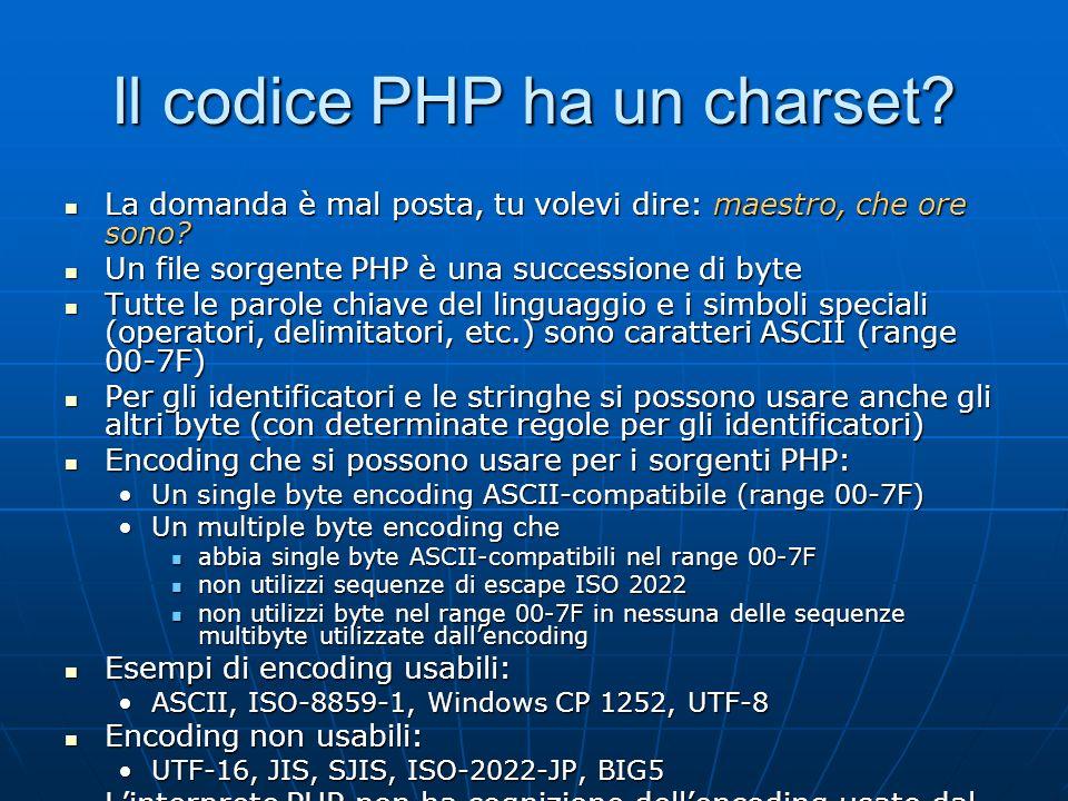 Il codice PHP ha un charset