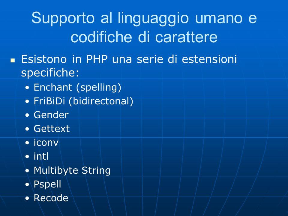 Supporto al linguaggio umano e codifiche di carattere