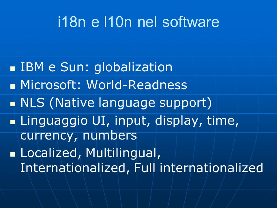 i18n e l10n nel software IBM e Sun: globalization
