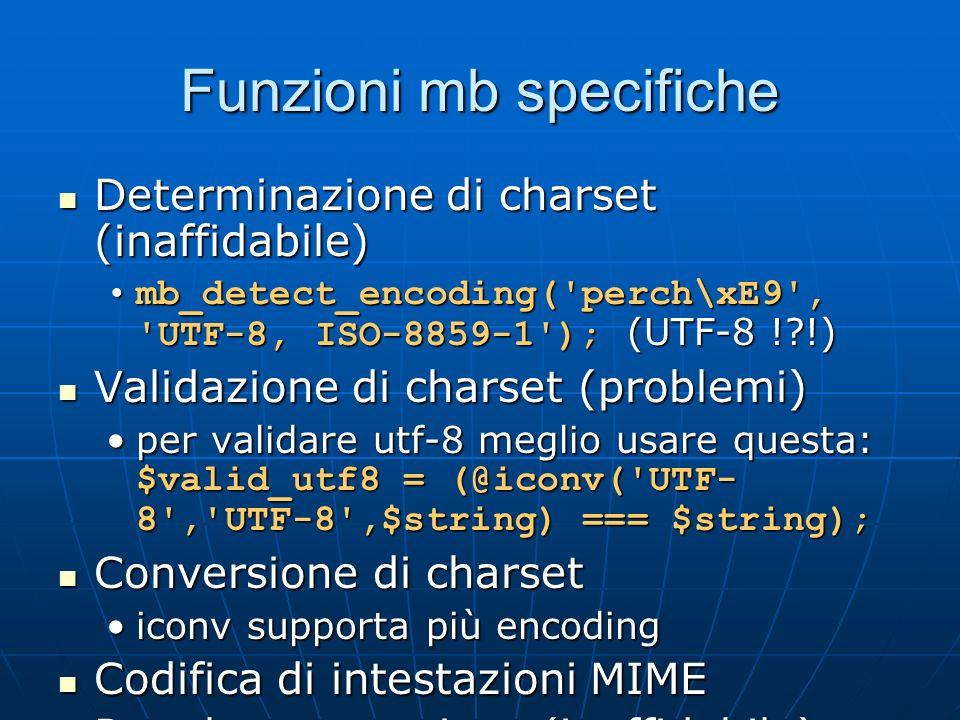 Funzioni mb specifiche