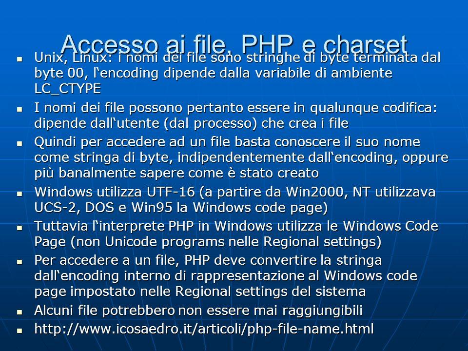Accesso ai file, PHP e charset