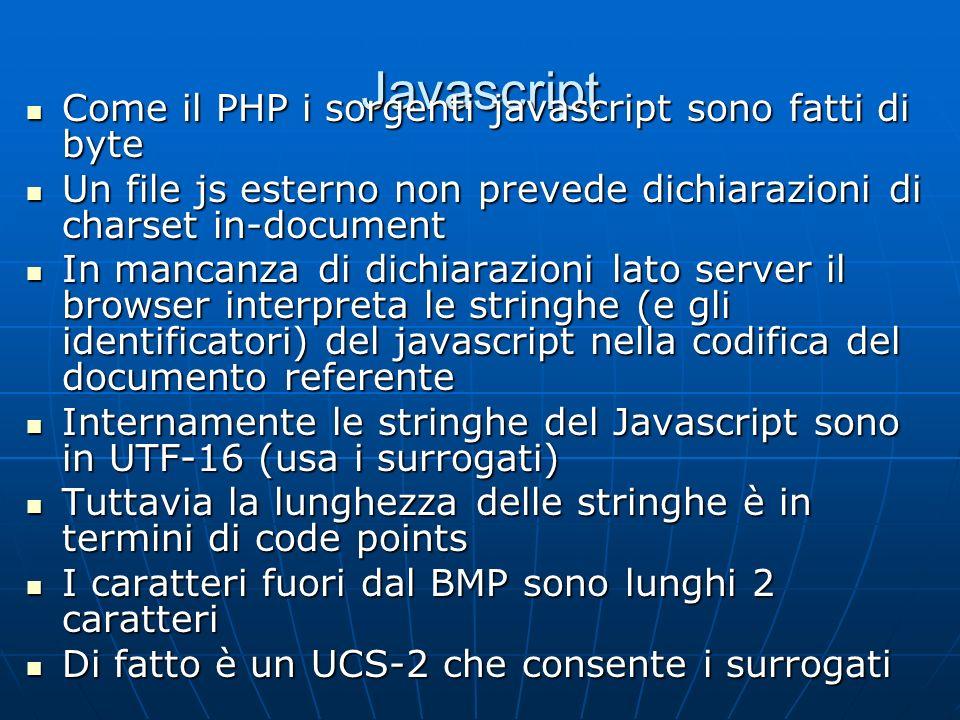 Javascript Come il PHP i sorgenti javascript sono fatti di byte