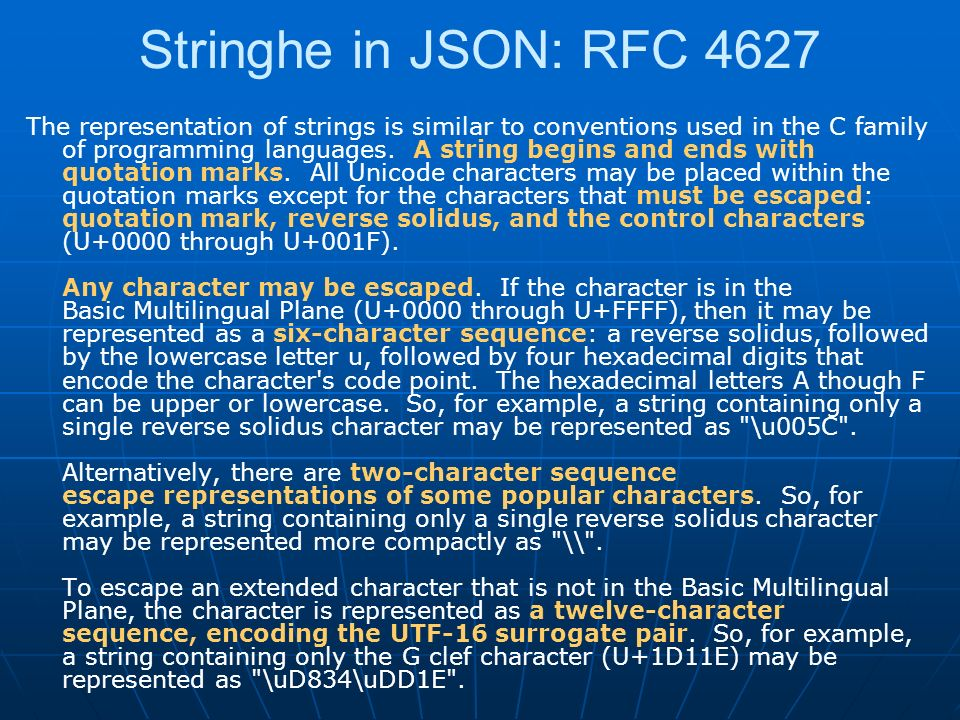 Stringhe in JSON: RFC 4627