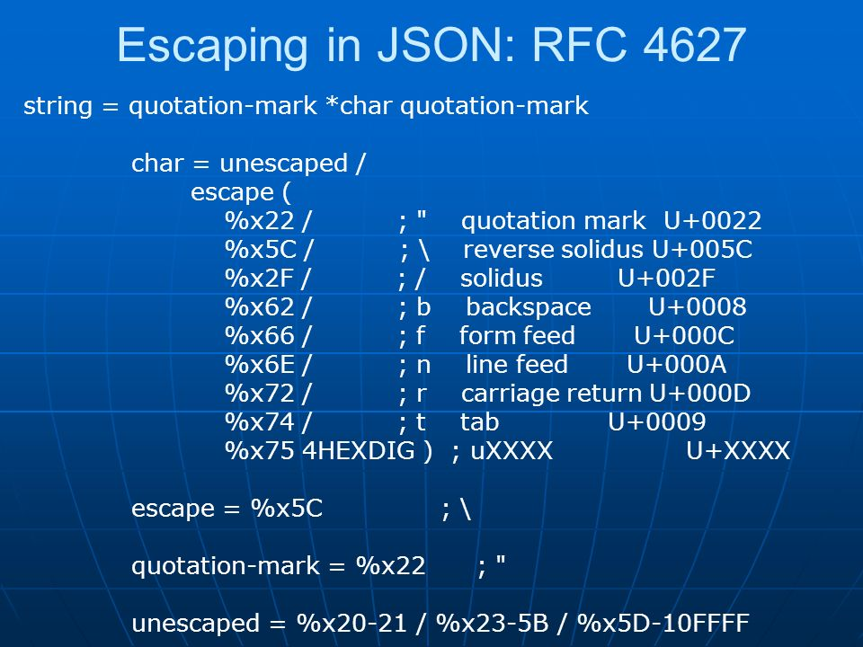 Escaping in JSON: RFC 4627