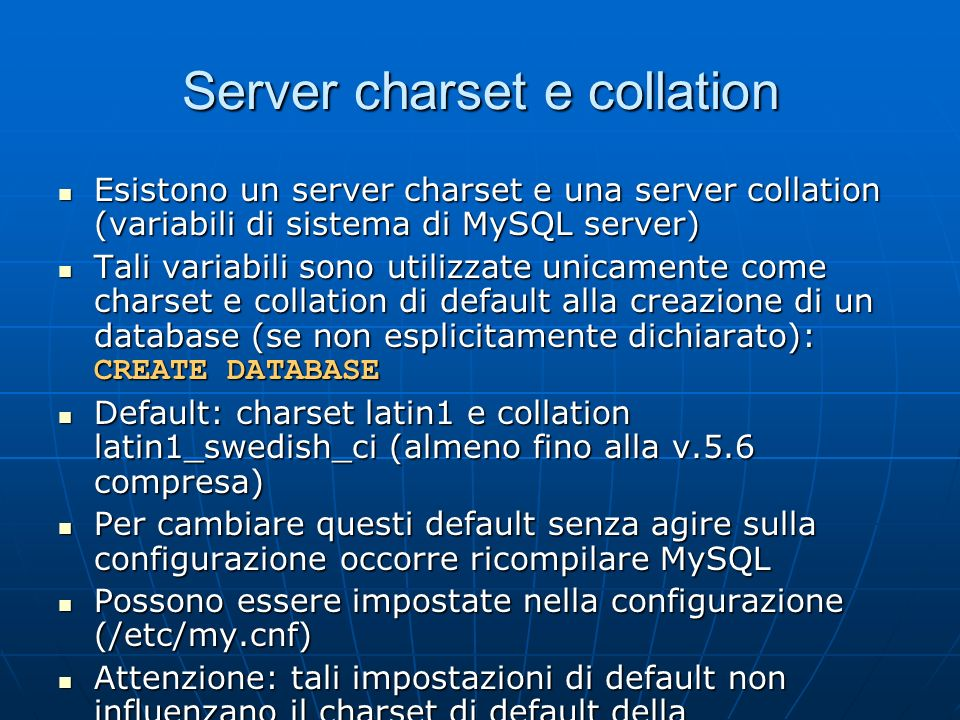 Server charset e collation
