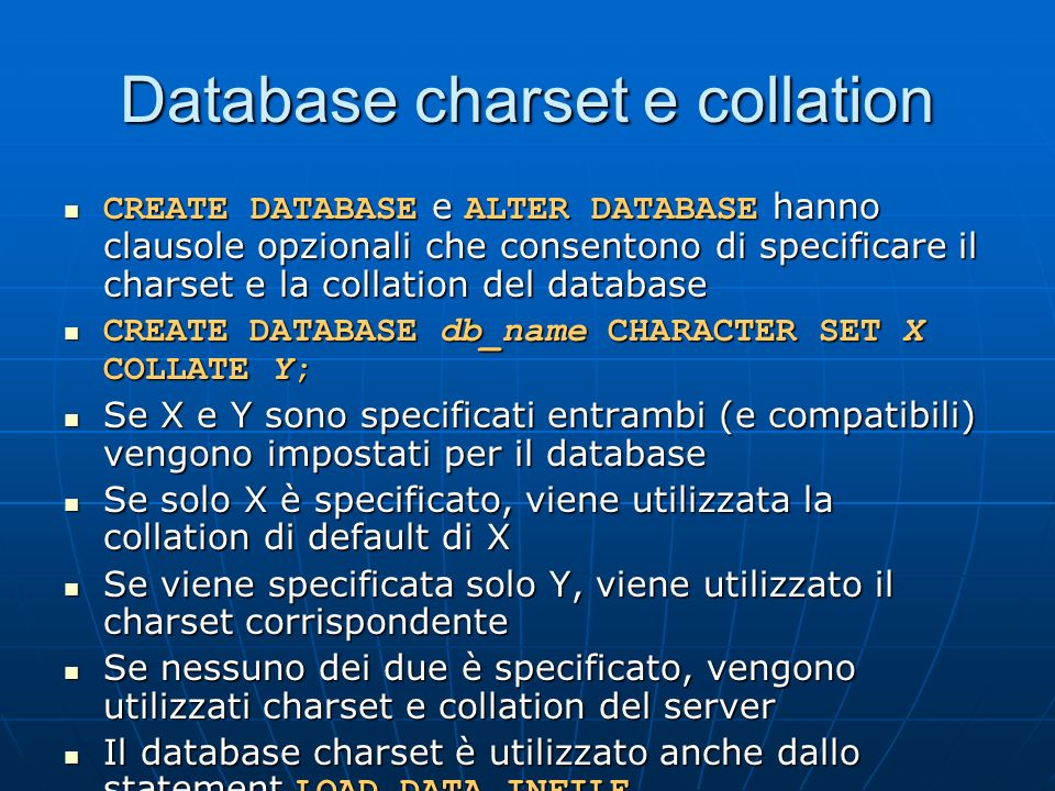 Database charset e collation