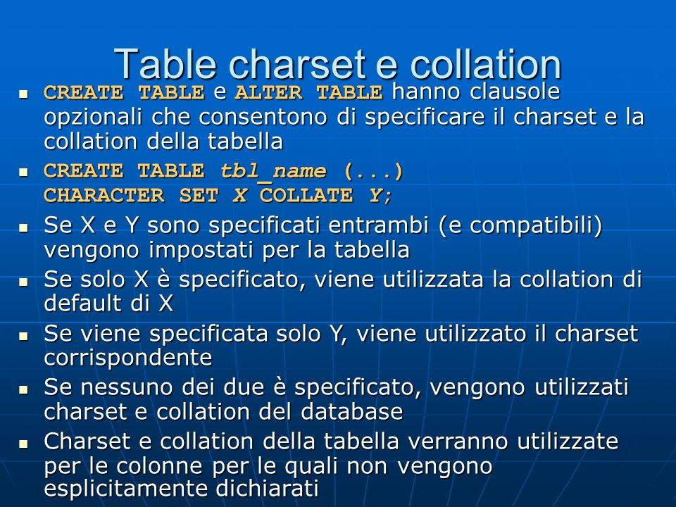 Table charset e collation