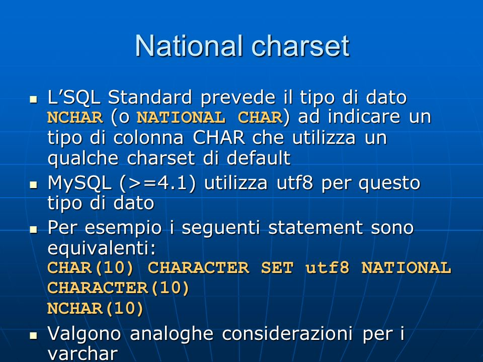 National charset