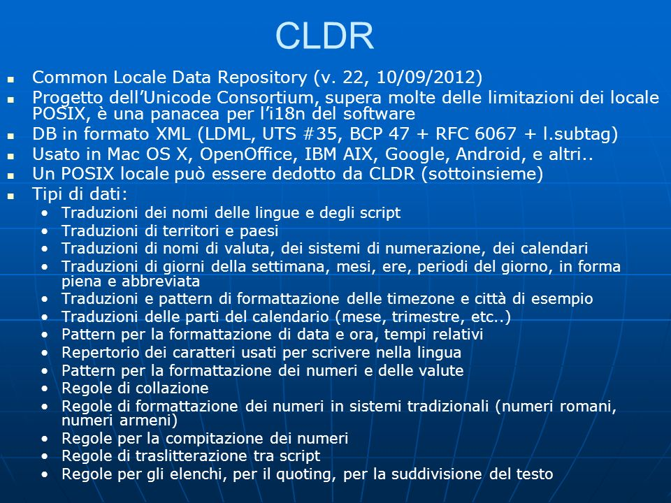 CLDR Common Locale Data Repository (v. 22, 10/09/2012)