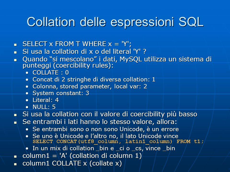 Collation delle espressioni SQL