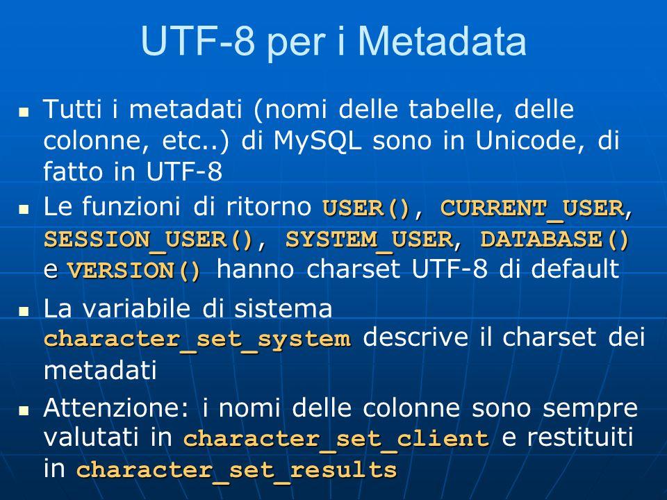 UTF-8 per i Metadata Tutti i metadati (nomi delle tabelle, delle colonne, etc..) di MySQL sono in Unicode, di fatto in UTF-8.