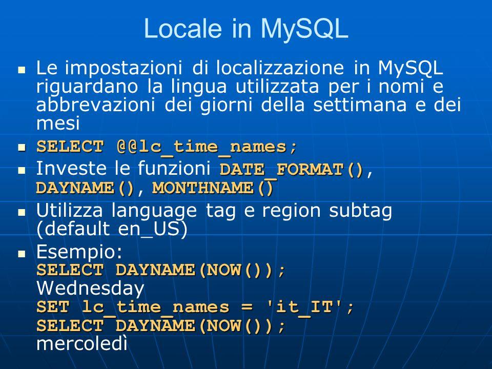 Locale in MySQL