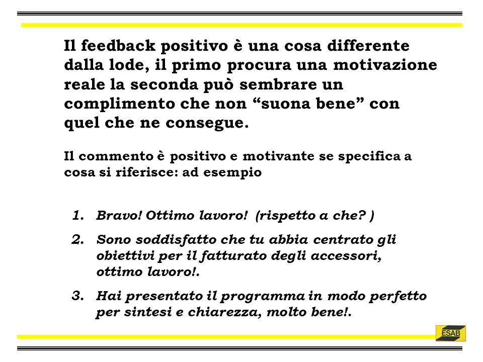 Il feedback positivo è una cosa differente dalla lode, il primo procura una motivazione reale la seconda può sembrare un complimento che non suona bene con quel che ne consegue.