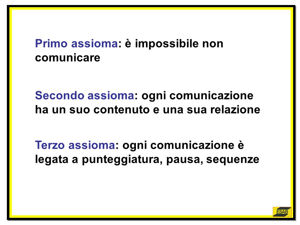 Primo assioma: è impossibile non comunicare