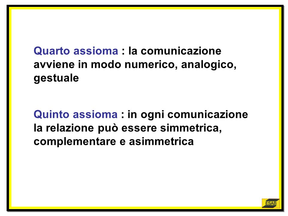 Quarto assioma : la comunicazione avviene in modo numerico, analogico, gestuale