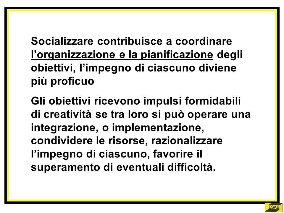 Socializzare contribuisce a coordinare l'organizzazione e la pianificazione degli obiettivi, l'impegno di ciascuno diviene più proficuo