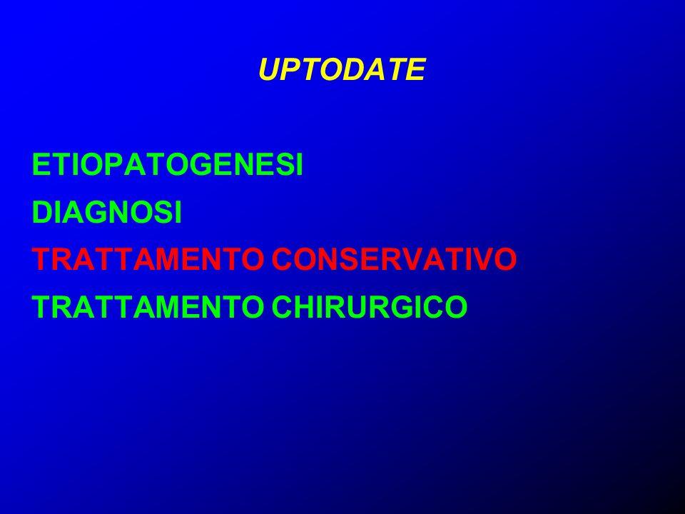 UPTODATE ETIOPATOGENESI DIAGNOSI TRATTAMENTO CONSERVATIVO TRATTAMENTO CHIRURGICO