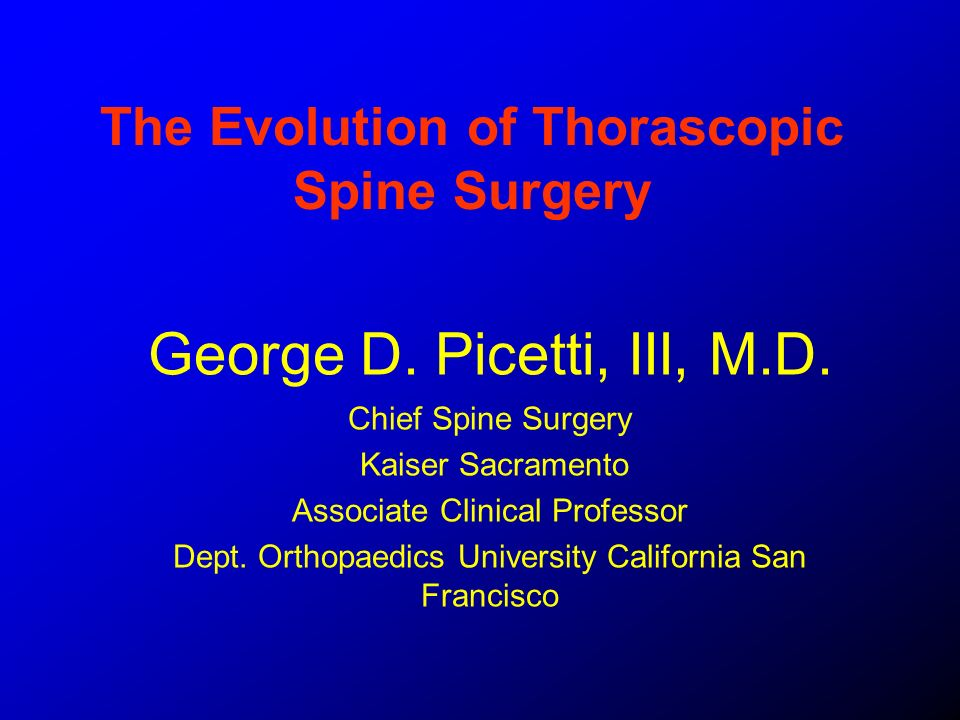 The Evolution of Thorascopic Spine Surgery
