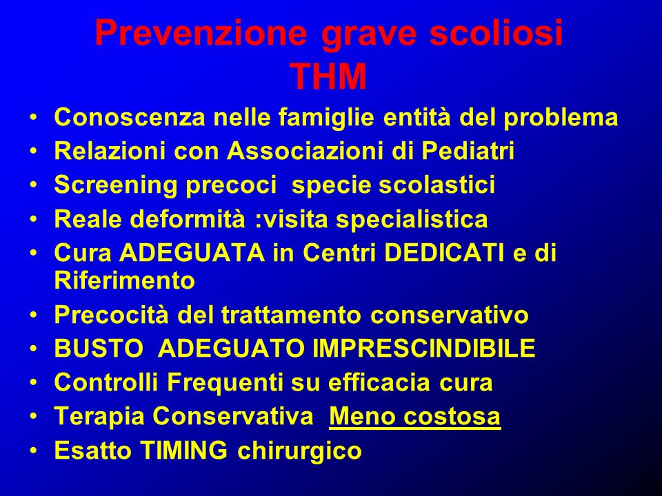 Prevenzione grave scoliosi THM