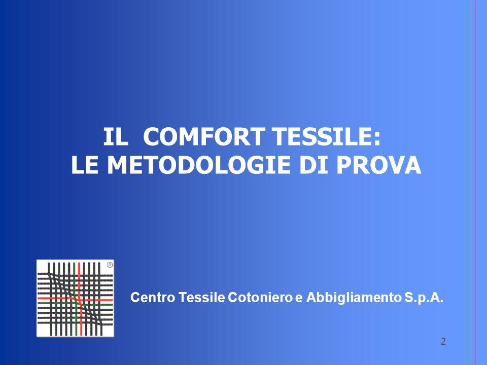 IL COMFORT TESSILE: LE METODOLOGIE DI PROVA