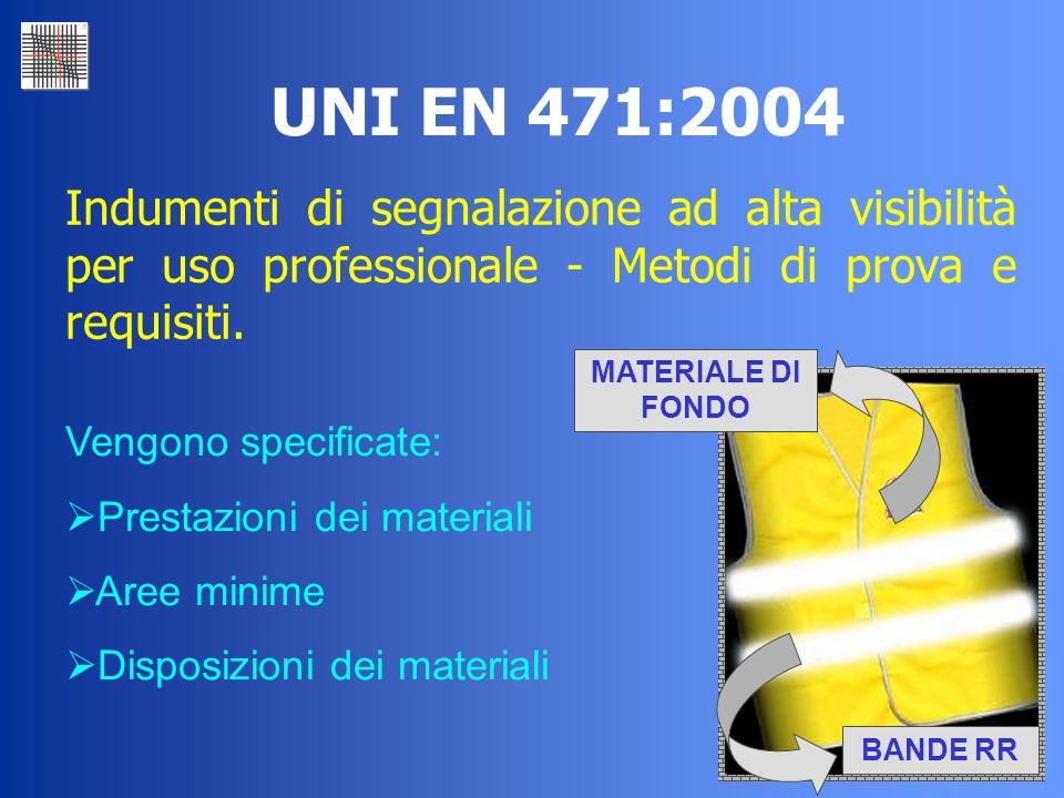 UNI EN 471:2004Indumenti di segnalazione ad alta visibilità per uso professionale - Metodi di prova e requisiti.