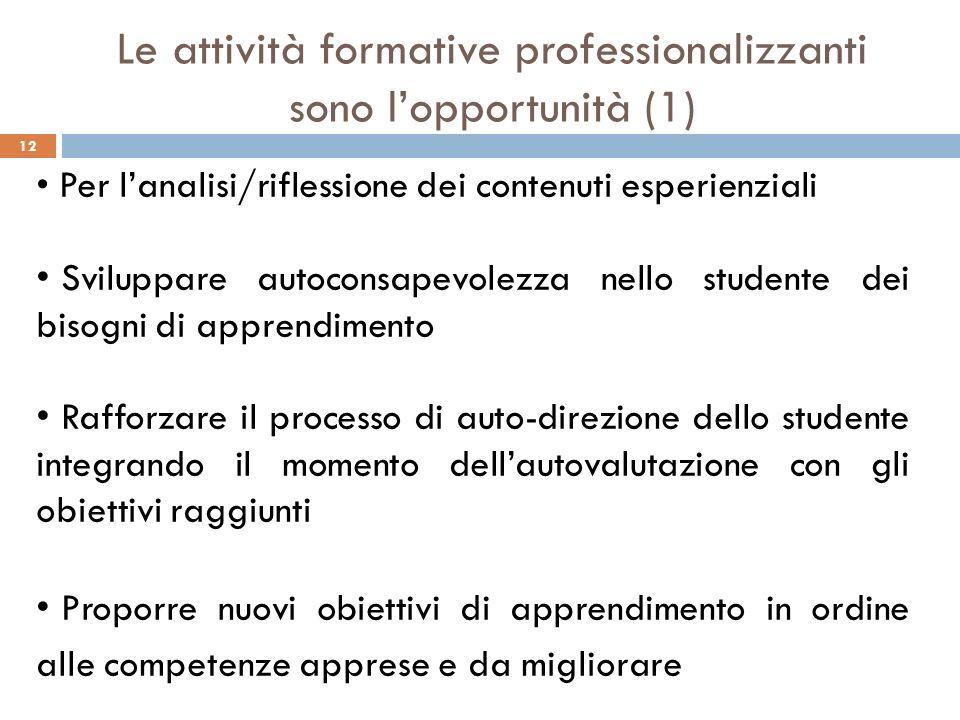 Le attività formative professionalizzanti sono l'opportunità (1)