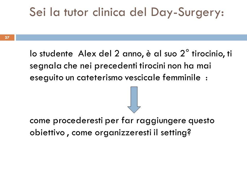 Sei la tutor clinica del Day-Surgery: