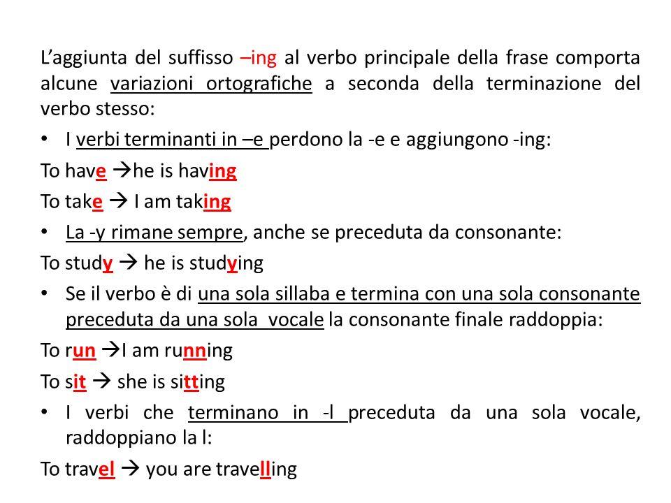 L'aggiunta del suffisso –ing al verbo principale della frase comporta alcune variazioni ortografiche a seconda della terminazione del verbo stesso: