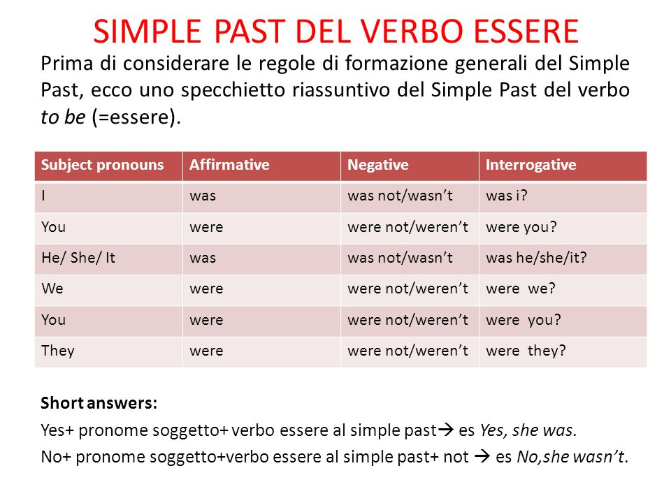 SIMPLE PAST DEL VERBO ESSERE