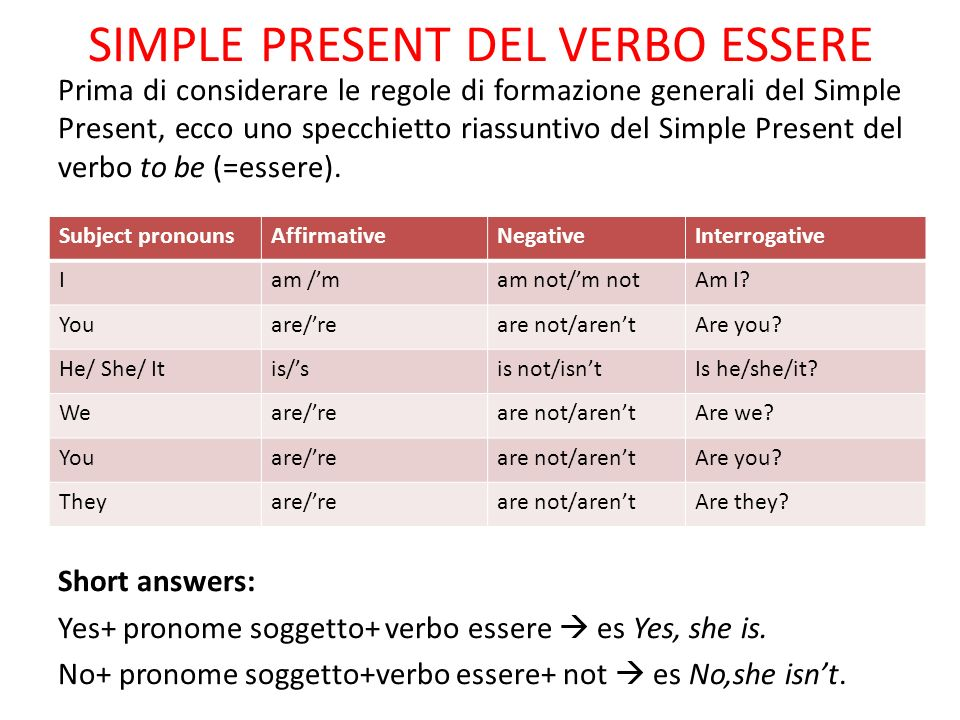 SIMPLE PRESENT DEL VERBO ESSERE